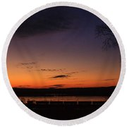 Sunset On The River Round Beach Towel