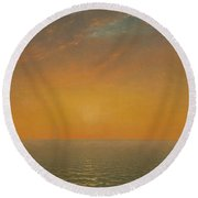 Sunset On The Sea, 1872 Round Beach Towel