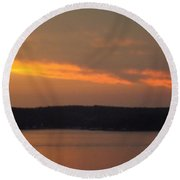 Round Beach Towel featuring the photograph Sunset On The Shore 2 by Don Koester