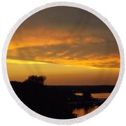 Round Beach Towel featuring the photograph Sunset On The Shore  by Don Koester
