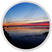 Sunset On The Shore Of Southend Round Beach Towel