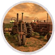 Sunset On The Tractors Round Beach Towel