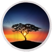 Sunset On The Tree Round Beach Towel