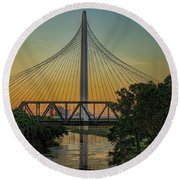 Sunset On The Trinity Round Beach Towel