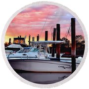 Sunset On The Water Round Beach Towel