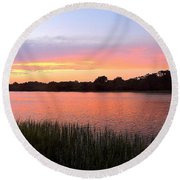 Sunset On The Waterway Round Beach Towel