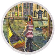 Sunset On Venice - The Gondolier Round Beach Towel by Carol Wisniewski
