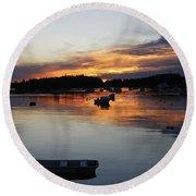 Sunset On Vinalhaven Maine Round Beach Towel