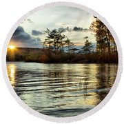 Sunset On Webster Lake  Round Beach Towel