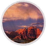 Sunset On West Temple Zion National Park Round Beach Towel by Dave Welling