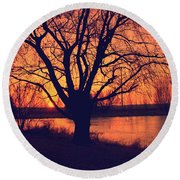 Sunset On Willow Pond Round Beach Towel