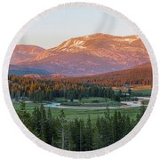 Sunset On Yosemite's Meadows Round Beach Towel