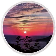 Sunset On Zihuatanejo Bay Round Beach Towel