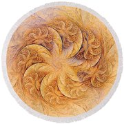 Sunset Orchids Round Beach Towel