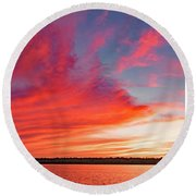 Round Beach Towel featuring the photograph Sunset Over A Lake, Pocono Mountains, Pennsylvania by A Gurmankin