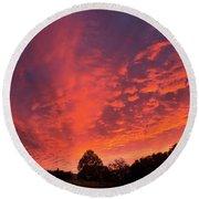 Sunset Over A Maine Farm Round Beach Towel by Alana Ranney