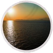 Round Beach Towel featuring the photograph Sunset Over Aegean Sea by Milena Ilieva