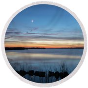 Sunset Over Back Bay Round Beach Towel