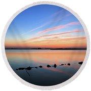 Sunset Over Back Bay National Wildlife Refuge Round Beach Towel