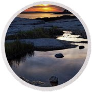 Sunset Over Boothbay Harbor Maine  -23095-23099 Round Beach Towel