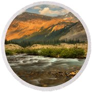 Sunset Over Bow Glacier Stream Round Beach Towel