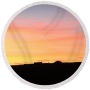 Round Beach Towel featuring the photograph Sunset Over Cairnpapple by RKAB Works
