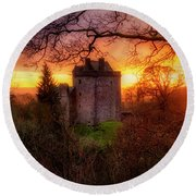 Round Beach Towel featuring the photograph Sunset Over Castle Campbell In Scotland by Jeremy Lavender Photography