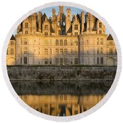 Sunset Over Chateau Chambord Round Beach Towel