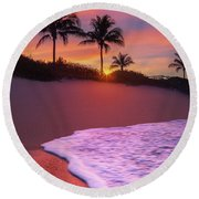 Sunset Over Coral Cove Park In Jupiter, Florida Round Beach Towel