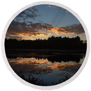 Sunset Over Cranberry Bogs Round Beach Towel by Kenny Glotfelty