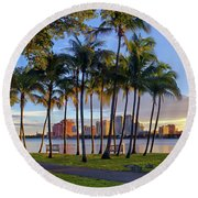 Sunset Over Downtown West Palm Beach From Palm Beach Island Round Beach Towel