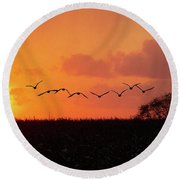 Sunset Over Easy Round Beach Towel by Sue Stefanowicz