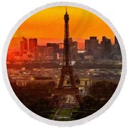 Sunset Over Eiffel Tower Round Beach Towel