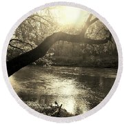 Sunset Over Flat Rock River - Southern Indiana - Sepia Round Beach Towel