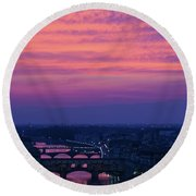 Sunset Over Florence Round Beach Towel