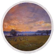Sunset Over Gratwick Park Round Beach Towel