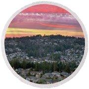 Sunset Over Happy Valley Residential Neighborhood Round Beach Towel