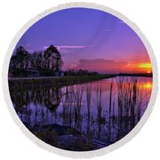 Round Beach Towel featuring the photograph Sunset Over Hungryland Wildlife Management Area by Justin Kelefas