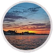 Sunset Over Huntington Harbour Round Beach Towel by Peter Dang