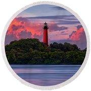 Sunset Over Jupiter Lighthouse, Florida Round Beach Towel