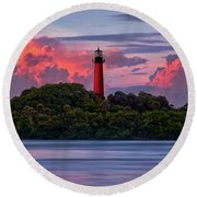 Round Beach Towel featuring the photograph Sunset Over Jupiter Lighthouse, Florida by Justin Kelefas