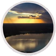 Round Beach Towel featuring the photograph Sunset Over Lake by Carolyn Marshall