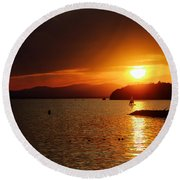 Sunset Over Lake Champlain Round Beach Towel