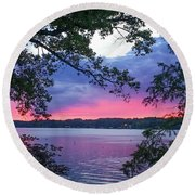 Sunset Over Lake Cherokee Round Beach Towel