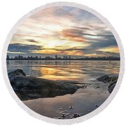 Round Beach Towel featuring the photograph Sunset Over Lake Kralingen  by Frans Blok