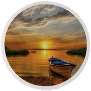 Sunset Over Lake Round Beach Towel by Lilia D