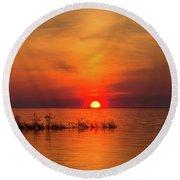 Sunset Over Lake Michigan Round Beach Towel