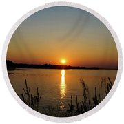 Sunset Over Lake Norman Round Beach Towel by B Wayne Mullins