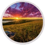 Sunset Over Lake Oahe Round Beach Towel