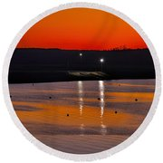 Round Beach Towel featuring the photograph Sunset Over Lake Texoma by Diana Mary Sharpton